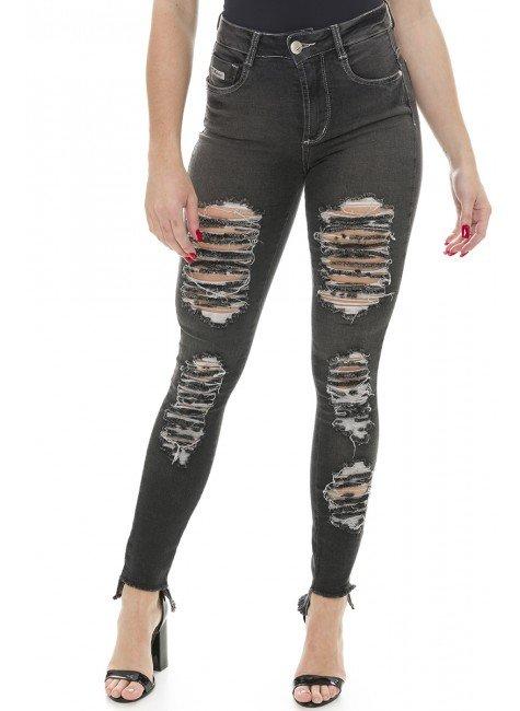 211818 Calça Jeans Feminina Skinny Destroyed (Frente)