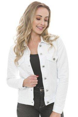 912906 Jaqueta Jeans Feminina com Detalhe de Lapela Frontal Branco (Frente)