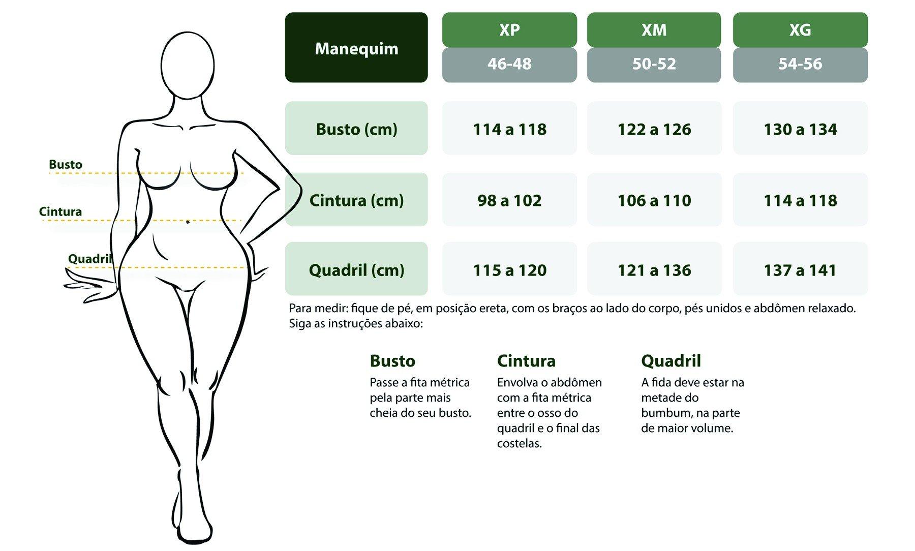 tabela de medidas feminina plus size