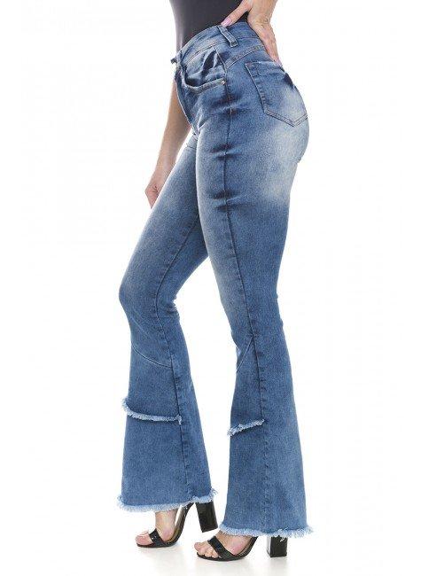 112804 Calça Jeans Feminina Flare Desfiada (Lateral)