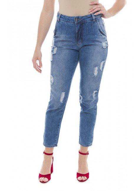 112908 Calça Jeans Feminina Mom Destroyed (Frente)