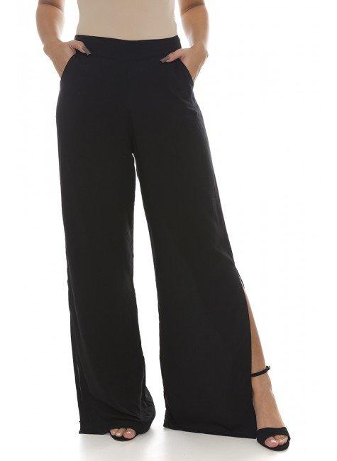 44711900 Calça Pantalona com Fenda Preto (Frente)