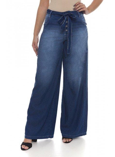 111908 Calça Jeans Feminina Pantalona (Frente)