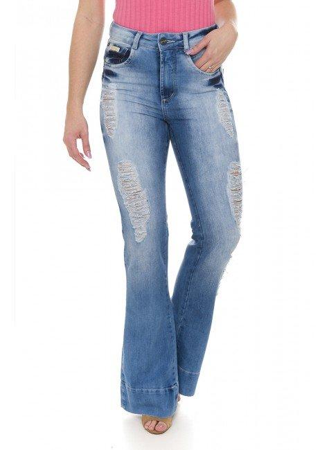 111801 Calça Jeans Feminina Flare Destroyed (Frente2)