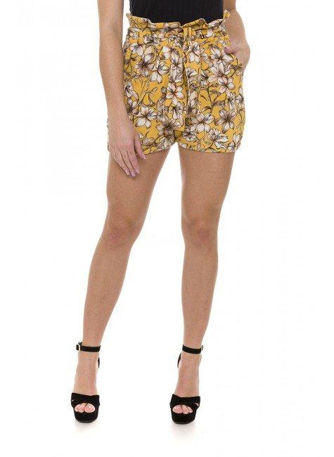 44611905 44611905 Bermuda Feminina Clochard em Crepe Floral Amarelo (Frente1)
