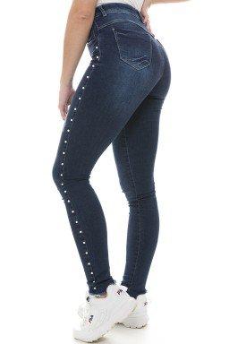 212832 Calça Jeans Feminina Super Skinny com Pérolas (Lateral)