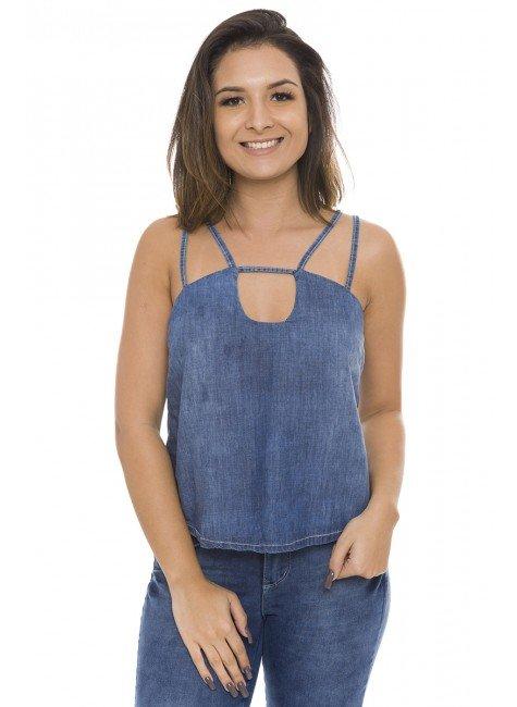 811907  Blusa Jeans Feminina de Alcinha (Frente1)