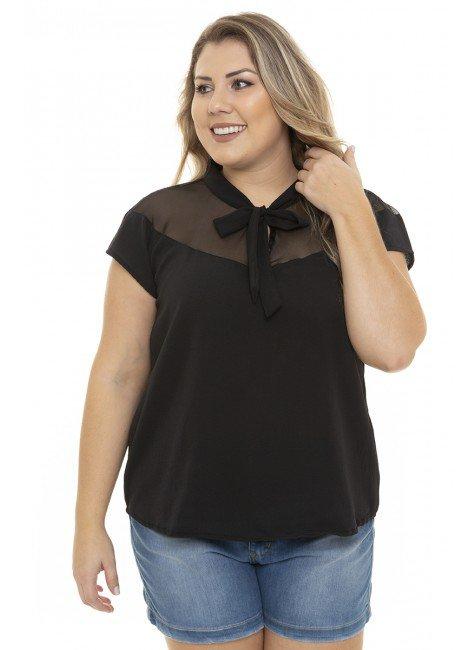 S4111901 Blusa Feminina Plus Size em Tule com Gola Laço Preto (Frente2)