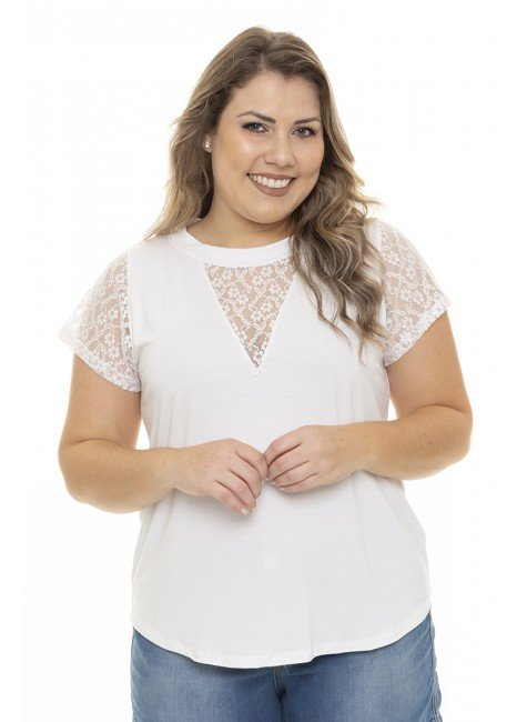 S4111909 Blusa Feminina Plus Size com Renda no Decote e Ombros Branco (Frente3)
