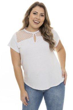 S4111913 Blusa Feminina Plus Size com Tule e Decote Gota Branco (Frente1)