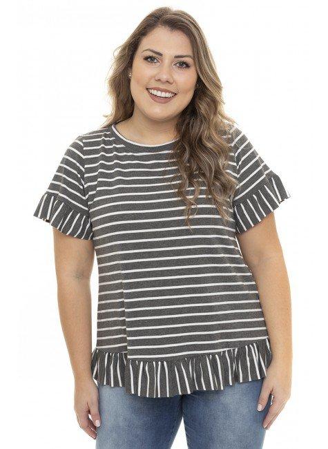 S4111915  Blusa Feminina Plus Size Listrada com Babado Mescla (Frente2)