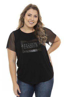 S4211902  T-Shirt Feminina Plus Size Fashion com Tule Preto (Frente2)