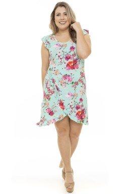 S4911902  Vestido Feminino Plus Size Floral com Fenda e Babado Floral (Frente1)