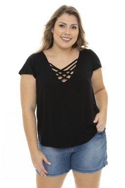 S4111908  Blusa Feminina Plus Size com Decote Trançado Preto  (Frente2)