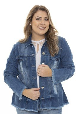 9129AR02  Jaqueta Jeans Feminina Plus Size Destroyed (Frente3)