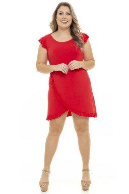 S4911901  Vestido Feminino Plus Size com Fenda e Babado Vermelho (Frente2)