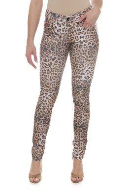 212940 Calça Jeans Feminina Skinny Animal Print Onça  (Frente)