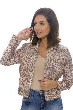 912907 Jaqueta Jeans Feminina Animal Print Onça (Frente)