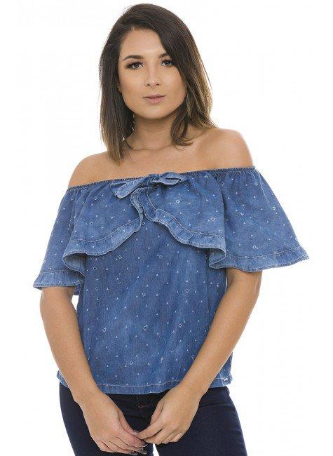811908 Blusa Jeans Feminina Open Shoulder com Detalhes Vazados (Frente)