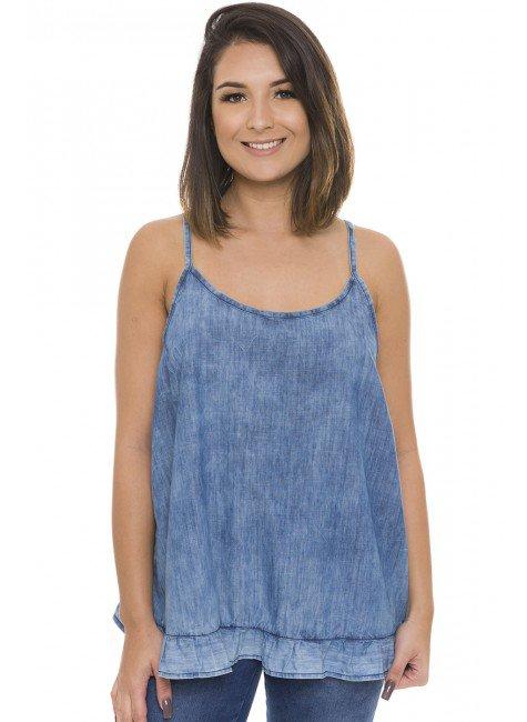 811820 Blusa Jeans Feminina Alcinha com Abertura nas Costas e Babados  (Frente)