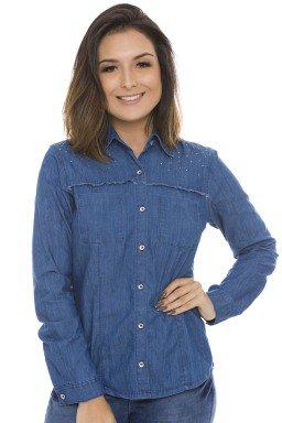 911901 Camisa Jeans Feminina Manga Longa com Strass e Bolso Frontal (Frente)