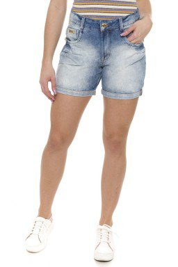 511813 Bermuda Meia Coxa Jeans Feminina Estonada com Barra Dobrada (Frente)