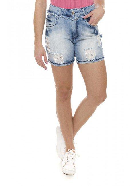 511831 Bermuda Meia Coxa Jeans Feminina Destroyed (Frente1)