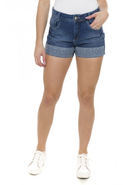 511905 Shorts Jeans Feminino com Detalhe em Strass (Frente)