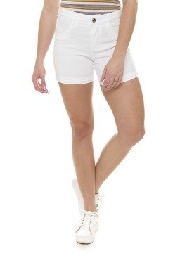 511911  Bermuda Meia Coxa Jeans Feminina Branco (Frente)