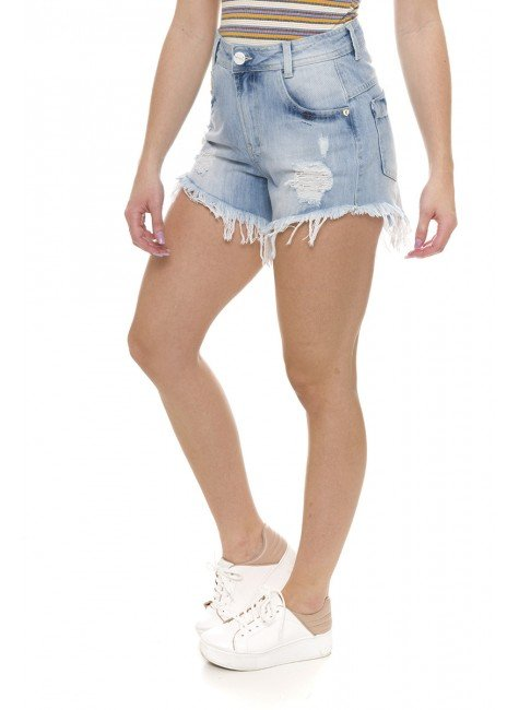 611819  Shorts Jeans Feminino Destroyed (Lateral)