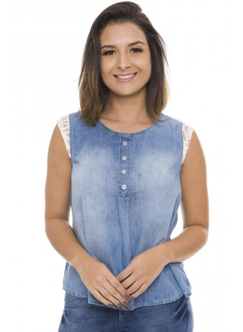 811811 Blusa Jeans Feminina com Detalhe em Renda nos Ombros (Frente1)