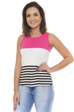 44111907 Regata Feminina com Listra Pink (Frente)