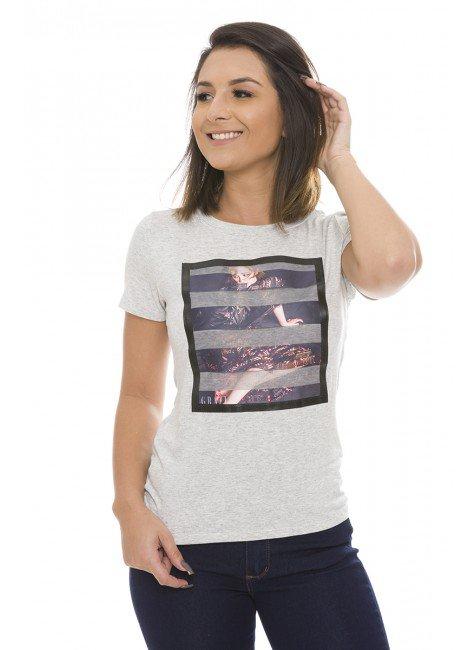 44211900 T-shirt Feminina com Aplique Sobreposto em Tule Mescla (Frente1)