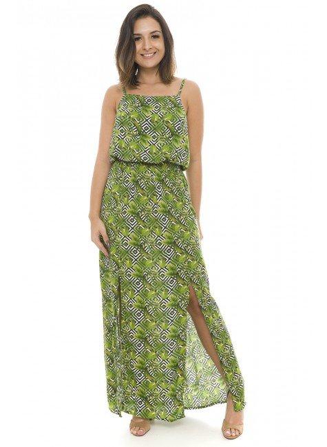 44911916  Vestido Longo com Fenda Verde (Frente2)