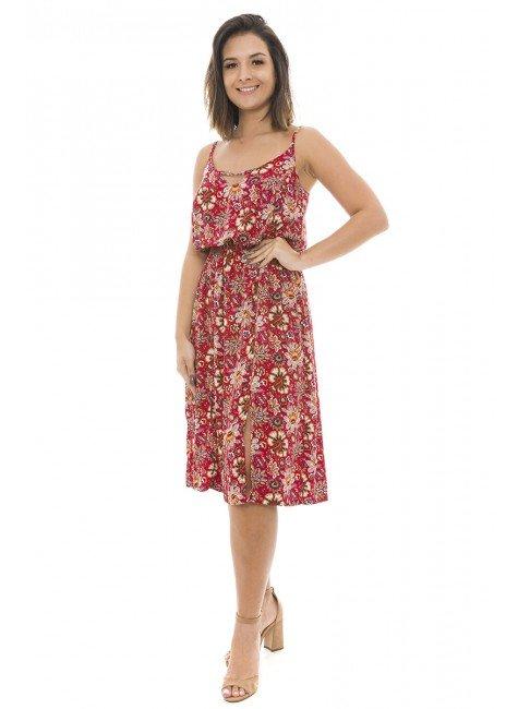 44911923 Vestido Midi com Fenda Estampado Vermelho (Frente1)