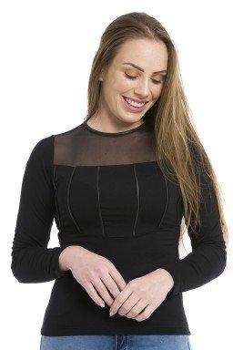 44112926  Blusa Feminina com Detalhe em Tule Preta (Frente)