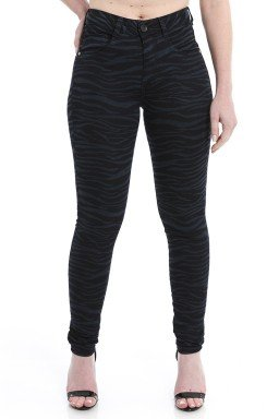 212932  Calça Jeans Skinny Feminina Animal Print (Frente)