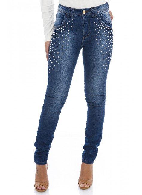 211995  Calça Jeans Feminina Skinny com Pérolas (Frente)
