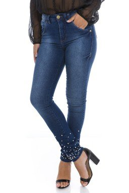 211994 Calça Jeans Feminina com Aplicação de Pedrarias  (Frente)