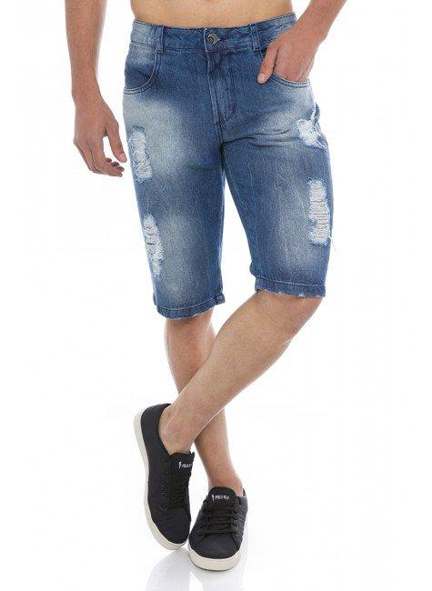 521822 Bermuda Jeans Masculina Destroyed (Frente)