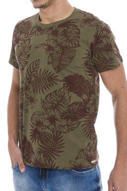 44222000-2 T-shirt Masculina Estampada Verde Militar (Frente)