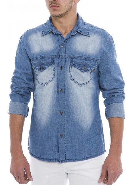 922708 Camisa Jeans Masculina (Frente)