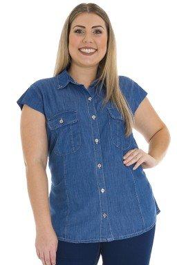 9119AR01 Camisete Jeans Feminina Plus Size (Frente)