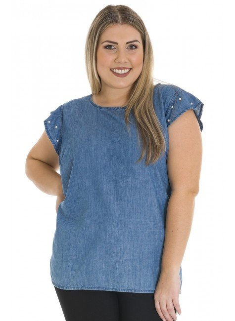 8119AR01 Blusa Jeans Plus Size com Pérolas (Frente)