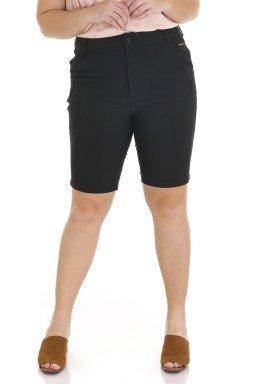 4118AR07 Bermuda Ciclista Jeans Feminina Plus Size Preta (Frente)