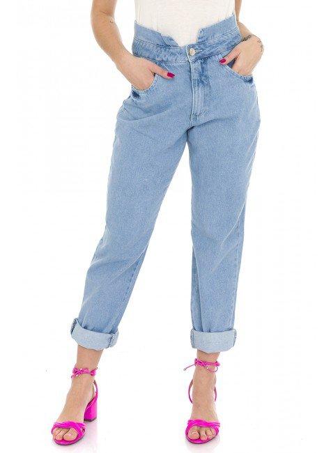 112902 Calça Jeans Feminina Mom Clochard (Frente)