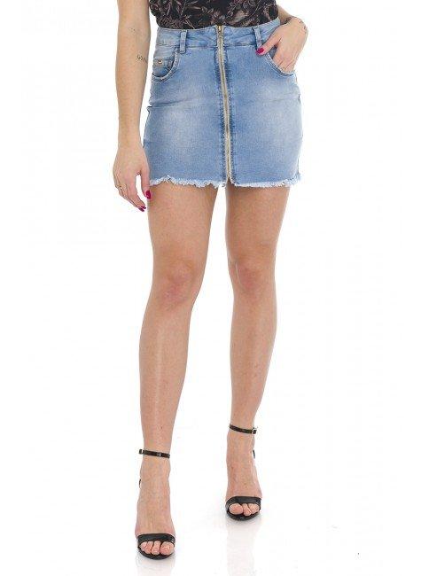 712000 Saia Jeans com Zíper Frontal (Frente)