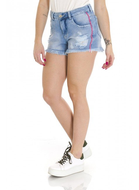 612001 Shorts Jeans Feminino Destroyed com Detalhe Neon (Lateral)