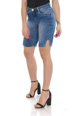 1412003 Bermuda Ciclista Jeans Feminina com Fenda Lateral (Frente)