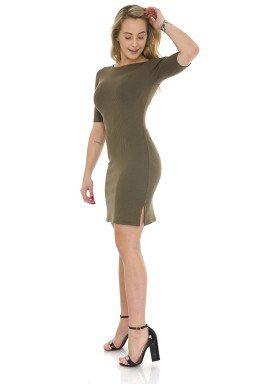44912903 Vestido Decote nas Costas Verde Militar (Lateral)